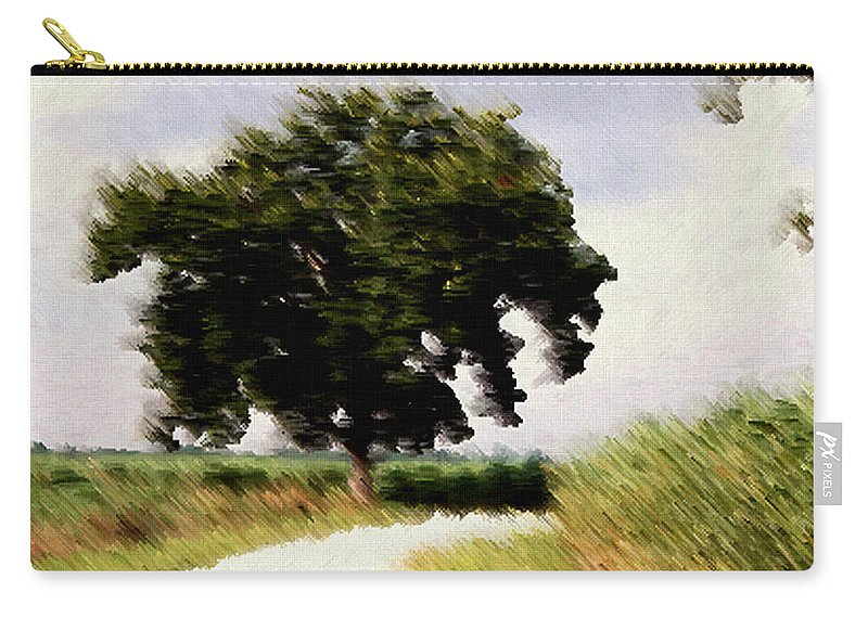 Breeze Carry-all Pouch featuring the digital art Wind Motif Old Dam Road by RC DeWinter