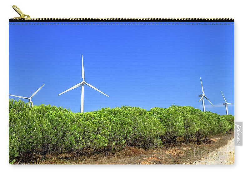Wind Turbines Carry-all Pouch featuring the photograph Wind Turbines Landscape by Benny Marty