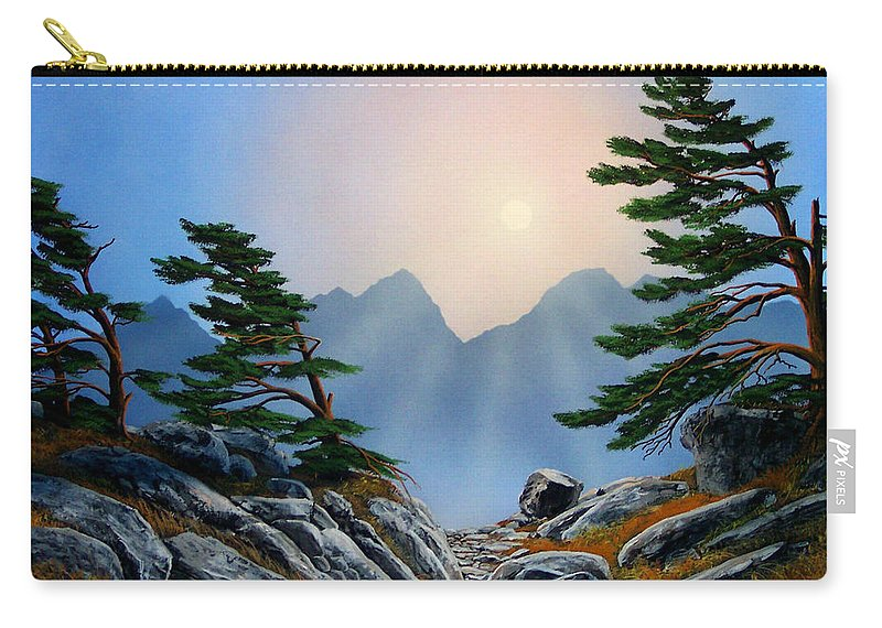 Windblown Pines Carry-all Pouch featuring the painting Windblown Pines by Frank Wilson