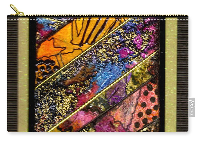 Vibrant Carry-all Pouch featuring the mixed media Winding Roads II by Angela L Walker