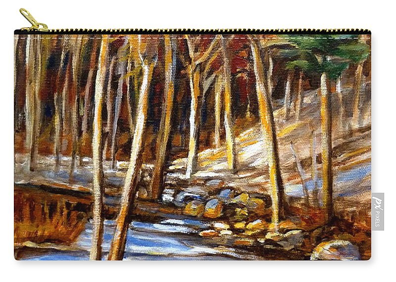 Windiing Stream Carry-all Pouch featuring the painting Winding Stream by Carole Spandau