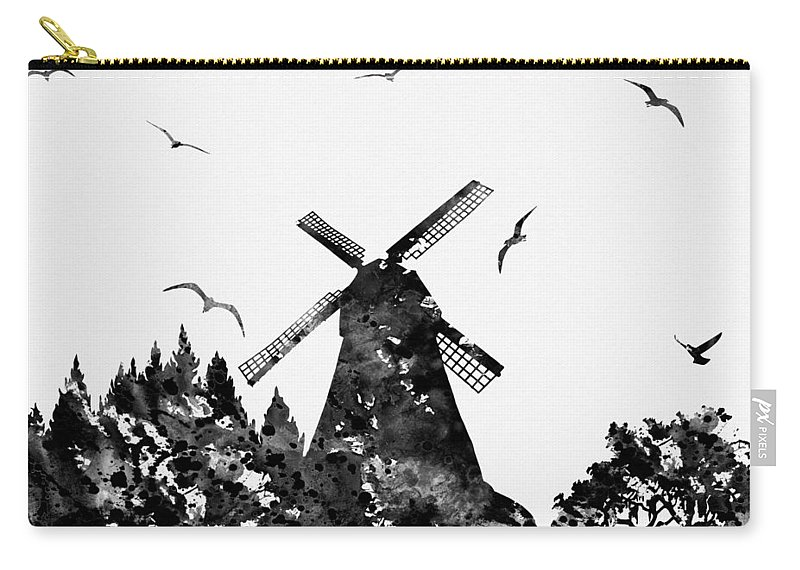 Windmill With Landscape Carry-all Pouch featuring the digital art Windmill by Erzebet S