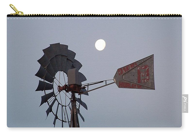 Windmill Carry-all Pouch featuring the photograph Windmill Moon by Gale Cochran-Smith