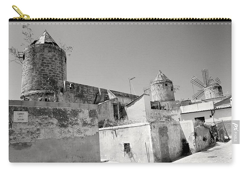 Windmills Carry-all Pouch featuring the photograph Windmill Scrapyard by David Coleman