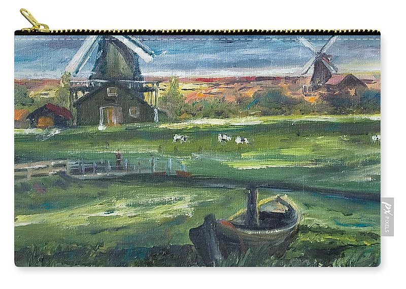 Water Carry-all Pouch featuring the painting Windmills by Rick Nederlof