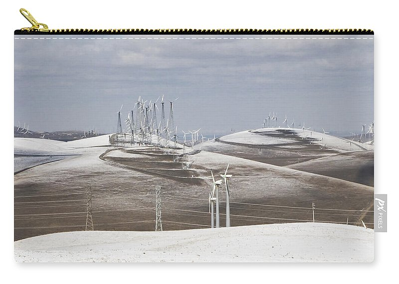 Patterson Pass Carry-all Pouch featuring the photograph Windmils In Snow by Karen W Meyer