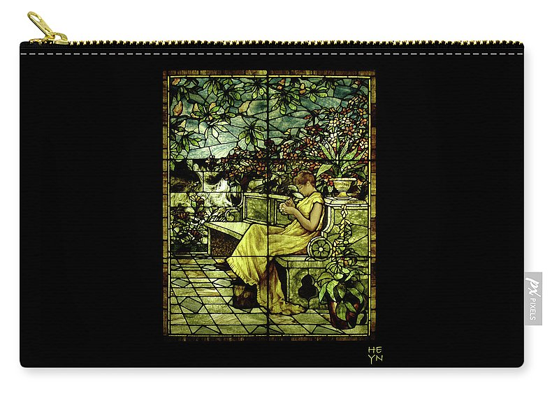 Stain Carry-all Pouch featuring the photograph Window - Lady In Garden by Shirley Heyn