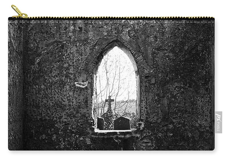 Ireland Carry-all Pouch featuring the photograph Window At Fuerty Church Roscommon Ireland by Teresa Mucha