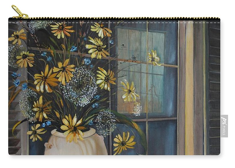 Wild Flowers Carry-all Pouch featuring the painting Window Dressing - Lmj by Ruth Kamenev