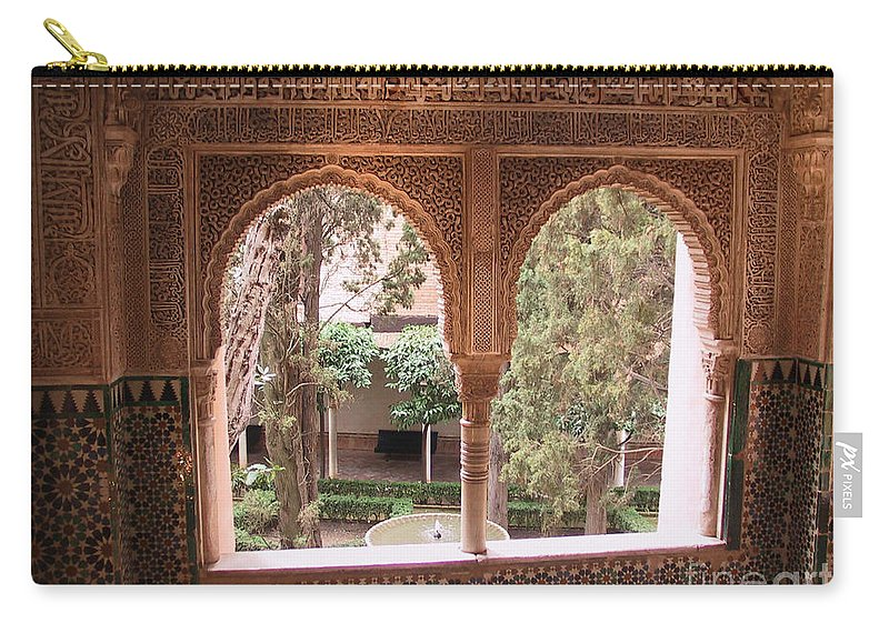 Window Carry-all Pouch featuring the photograph Window In La Alhambra by Thomas Marchessault