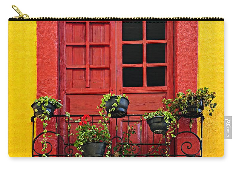 Window Carry-all Pouch featuring the photograph Window on Mexican house by Elena Elisseeva