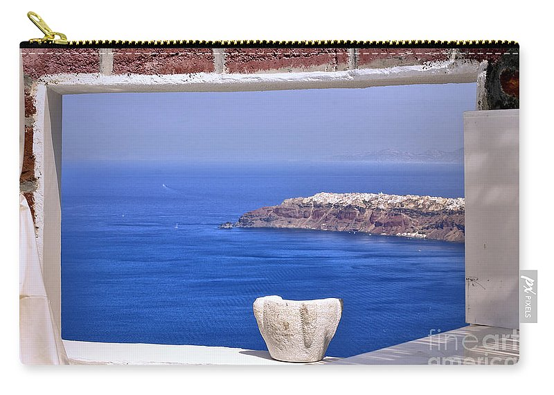 View Carry-all Pouch featuring the photograph Window View To The Mediterranean by Madeline Ellis
