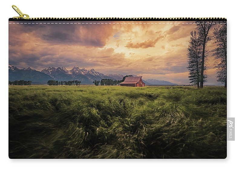 Barn Carry-all Pouch featuring the photograph Windstorm On The Prairie by Rajesh Jyothiswaran