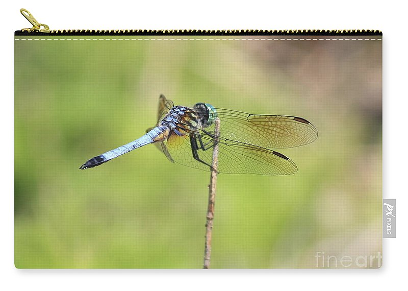 Dragonfly Carry-all Pouch featuring the photograph Windswept Dragonfly by Carol Groenen