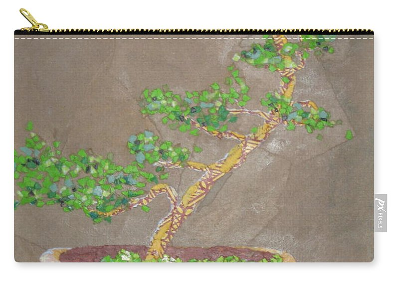 Banzai Tree Carry-all Pouch featuring the painting Windswept Juniper by Leah Tomaino