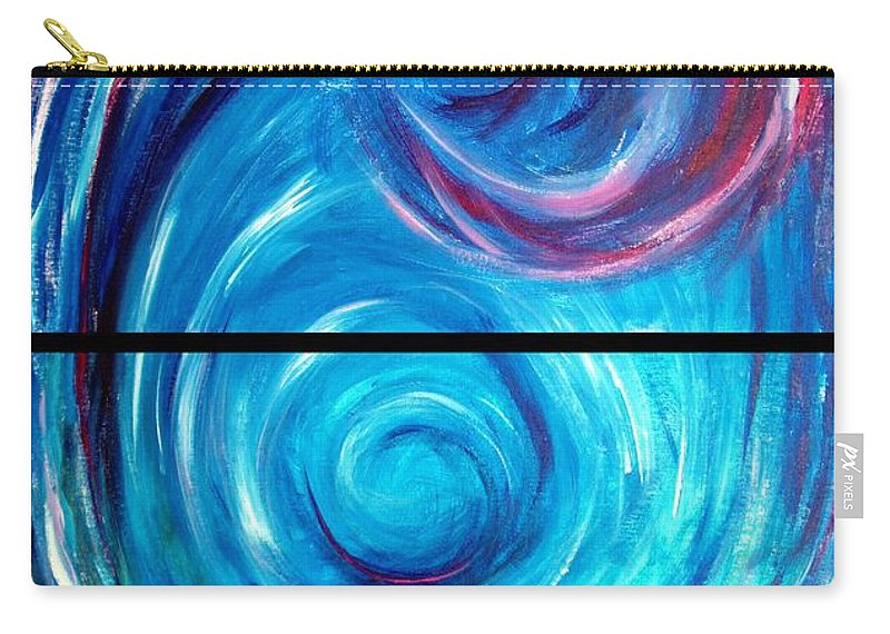 Blue Carry-all Pouch featuring the painting Windwept Blue Wave And Whirlpool Diptych 1 by Nancy Mueller