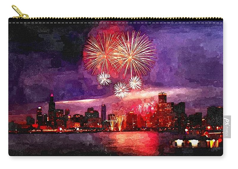 Landscape Carry-all Pouch featuring the painting Windy City by Rachel Niedermayer