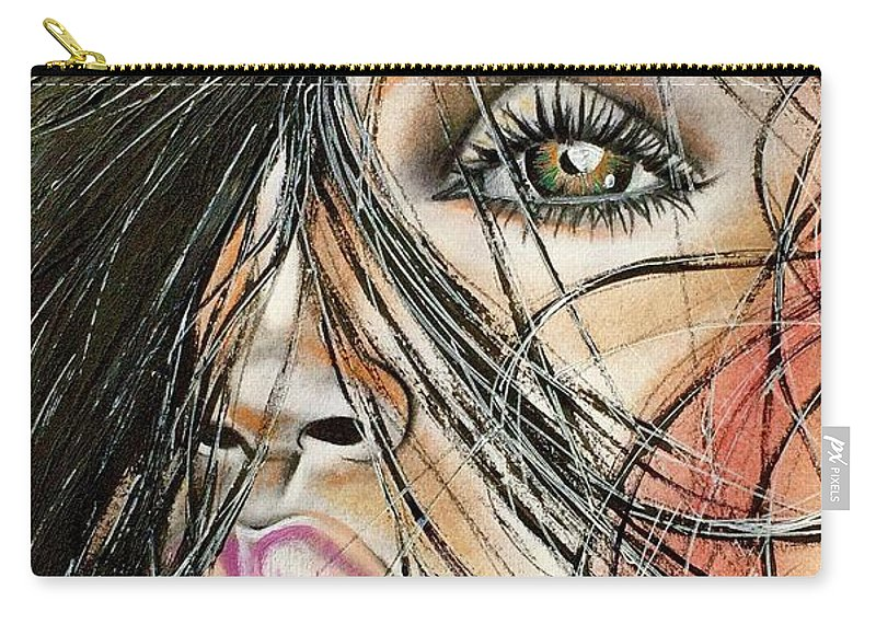 Artist Ria Carry-all Pouch featuring the drawing Windy Daze by Artist RiA