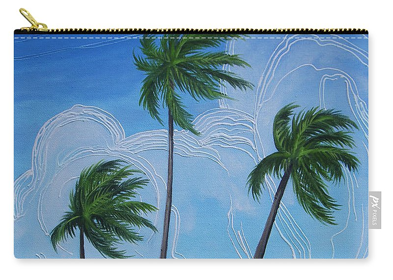 Palms Carry-all Pouch featuring the painting Windy Palms by Juan Alcantara