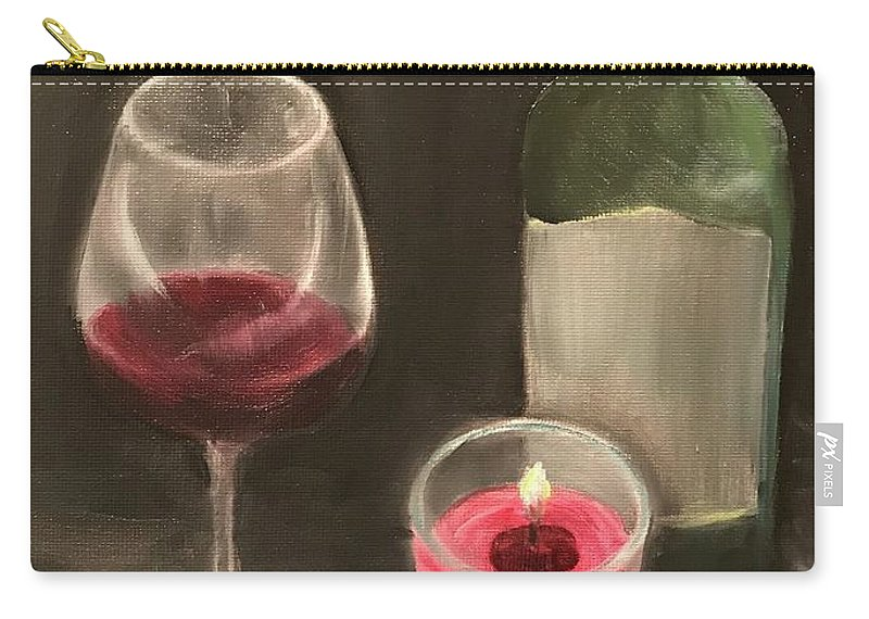 Wine Bottle Candle Still Life Carry-all Pouch featuring the painting Wine and Candle by Sheila Mashaw