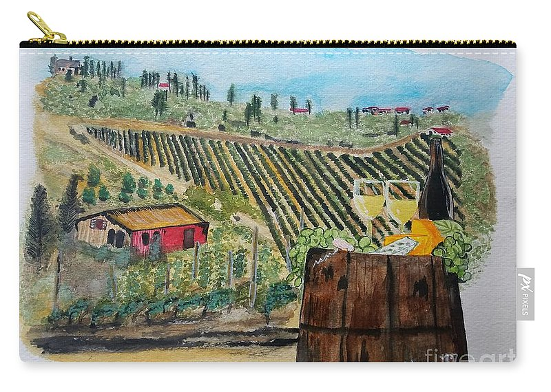 Tuscany Carry-all Pouch featuring the painting Wine And Cheese by Scott D Van Osdol