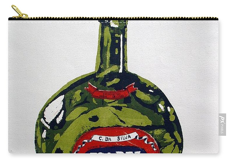 Silk Screen Carry-all Pouch featuring the mixed media Wine Bottle by Ron Bissett