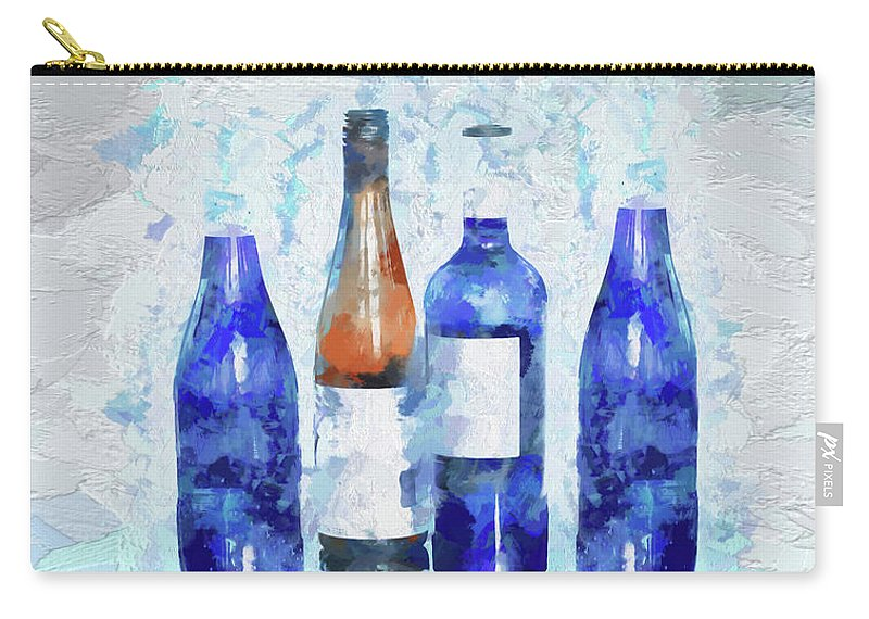 Digital Touch Carry-all Pouch featuring the digital art Wine Bottles Reflection by OLena Art Lena Owens
