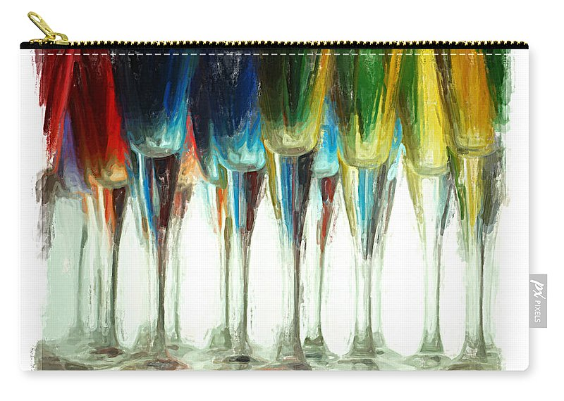 Art Deco Carry-all Pouch featuring the mixed media Wine Flutes by Henry J Yasses