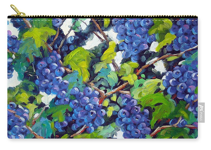 Fruits Carry-all Pouch featuring the painting Wine On The Vine by Richard T Pranke