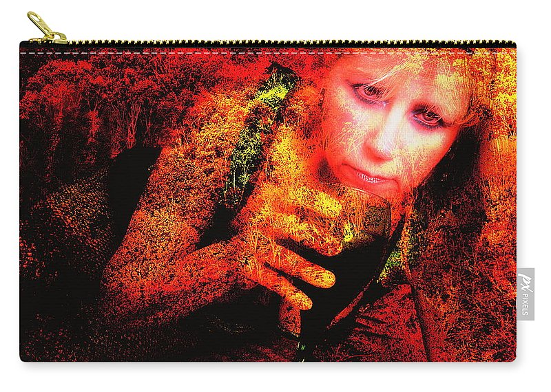 Clay Carry-all Pouch featuring the photograph Wine Woman And Fall Colors by Clayton Bruster
