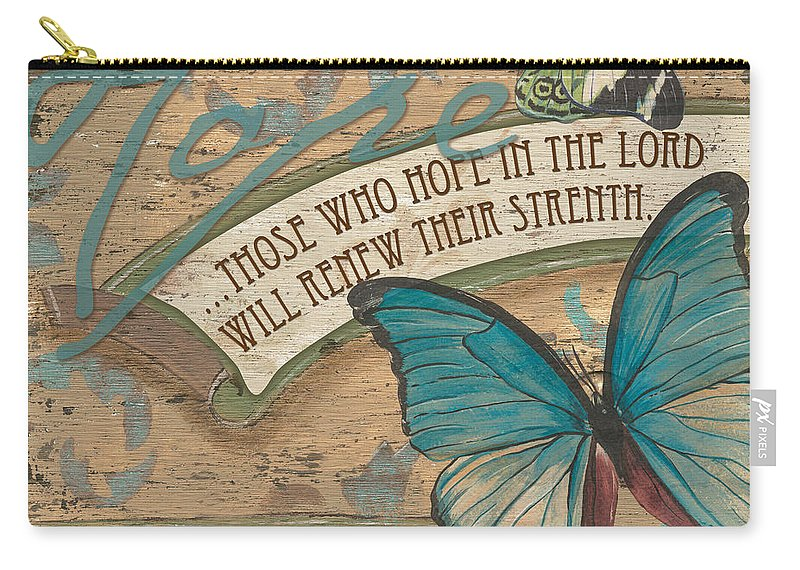 Butterfly Carry-all Pouch featuring the painting Wings of Hope by Debbie DeWitt