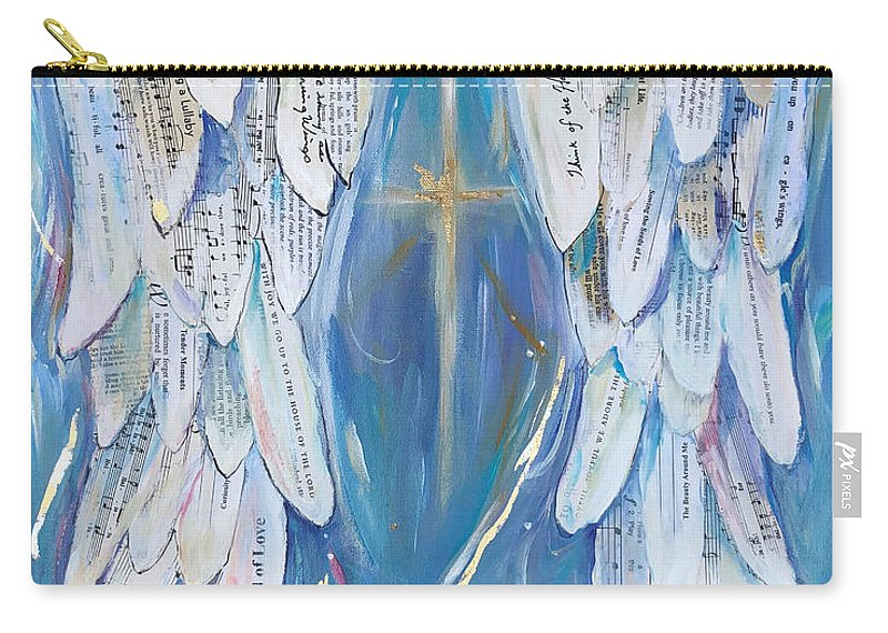 Angel Wings Carry-all Pouch featuring the painting Wings Of Joy by Michelle Lake