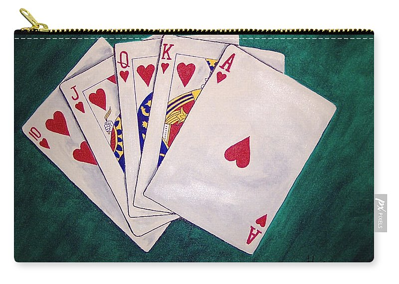 Playing Cards Wining Hand Role Flush Carry-all Pouch featuring the painting Wining Hand 2 by Herschel Fall