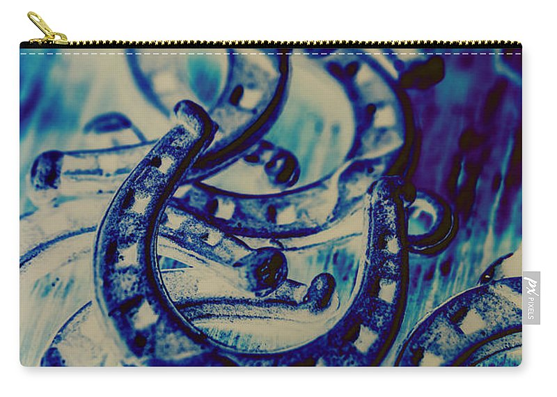 Abstract Carry-all Pouch featuring the photograph Winning Blue Country Tokens by Jorgo Photography - Wall Art Gallery