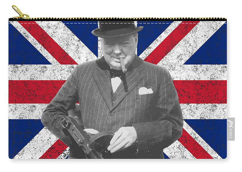 Winston Churchill Carry-all Pouch featuring the painting Winston Churchill And His Flag by War Is Hell Store