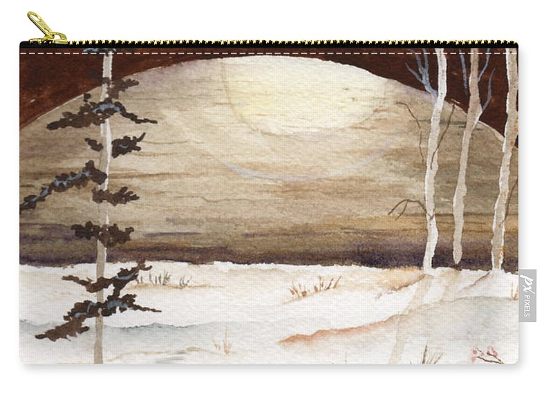 Watercolor Carry-all Pouch featuring the painting Winter Apex by Brenda Owen
