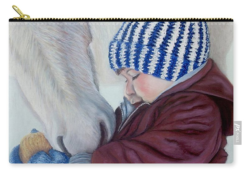Horse Carry-all Pouch featuring the painting Winter Apples by Minaz Jantz