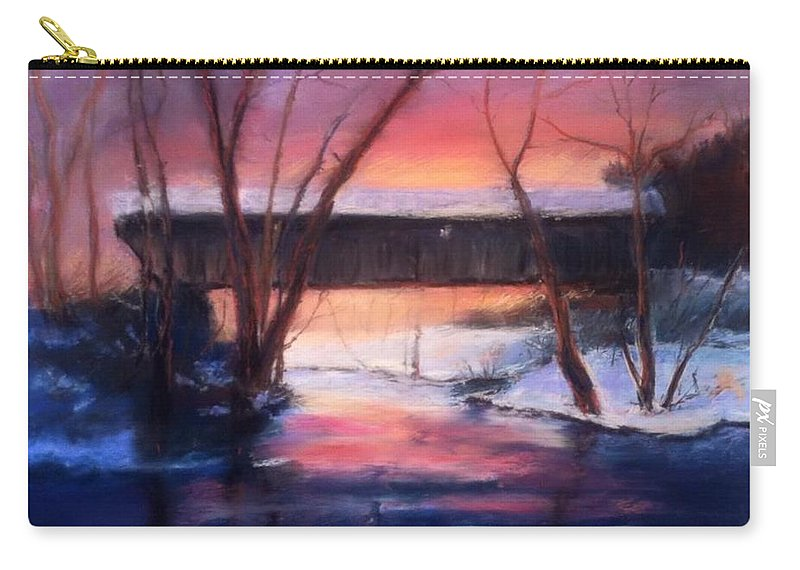 Landscape Carry-all Pouch featuring the painting Winter at Bennett's Mill by Gail Kirtz