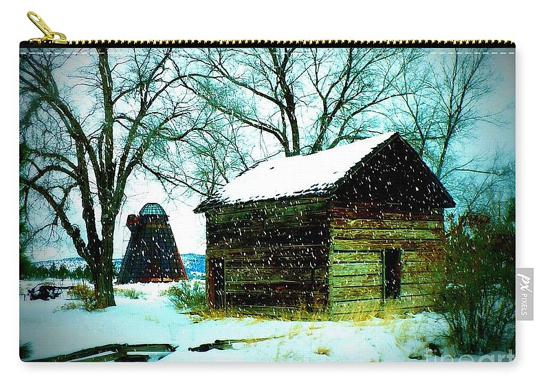 Winter Landscape Carry-all Pouch featuring the photograph Winter Barn And Silo by Carol Groenen