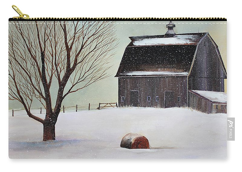 Barn Carry-all Pouch featuring the painting Winter Barn II by Toni Grote