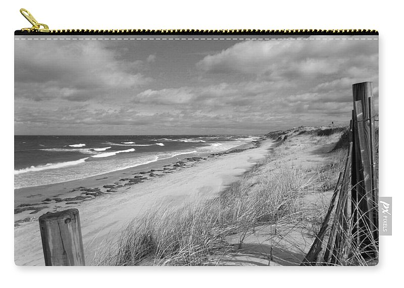 Cape Cod Carry-all Pouch featuring the photograph Winter Beach View - Black And White by Dianne Cowen