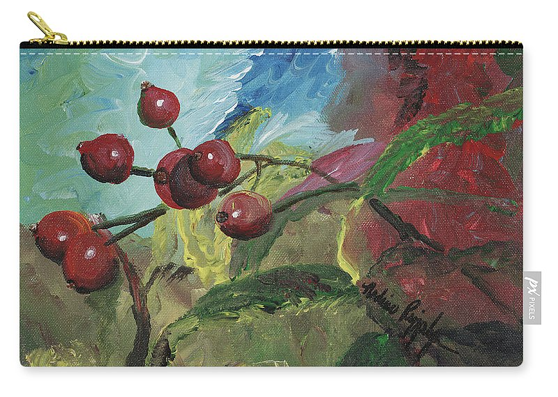 Berries Carry-all Pouch featuring the painting Winter Berries by Nadine Rippelmeyer