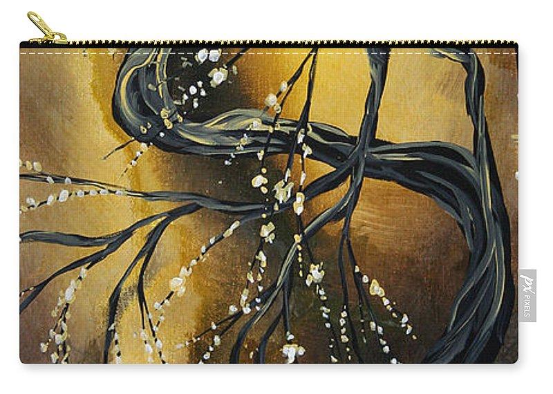 Art Carry-all Pouch featuring the painting Winter Blossom By Madart by Megan Duncanson