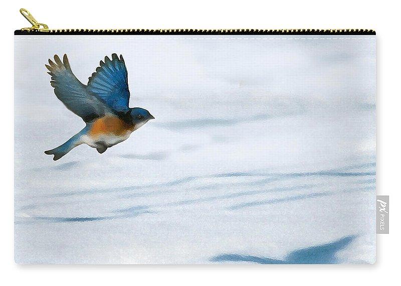 Blue Bird Carry-all Pouch featuring the digital art Winter Blues by Steve Karol