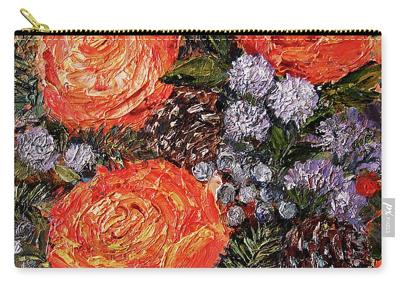 Winter Bouquet Carry-all Pouch featuring the painting Winter Bouquet  by Kozlova Marina