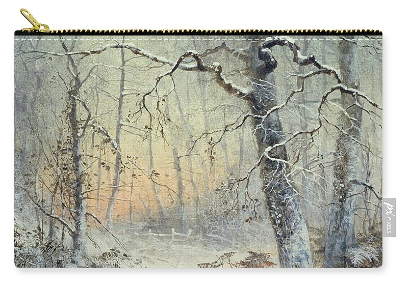 Winter Carry-all Pouch featuring the painting Winter Breakfast by Joseph Farquharson