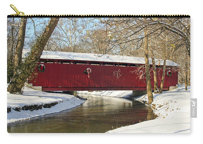 Covered Bridge Carry-all Pouch featuring the photograph Winter Bridge by Margie Wildblood