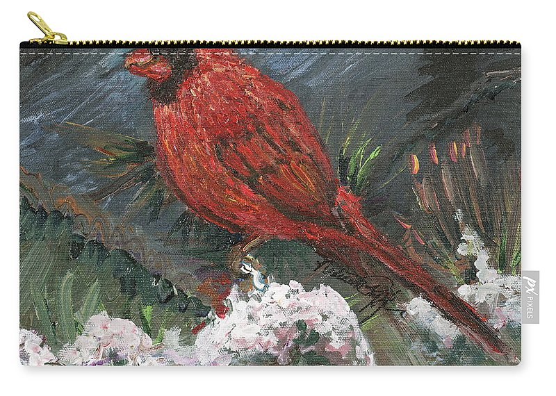 Bird Carry-all Pouch featuring the painting Winter Cardinal by Nadine Rippelmeyer