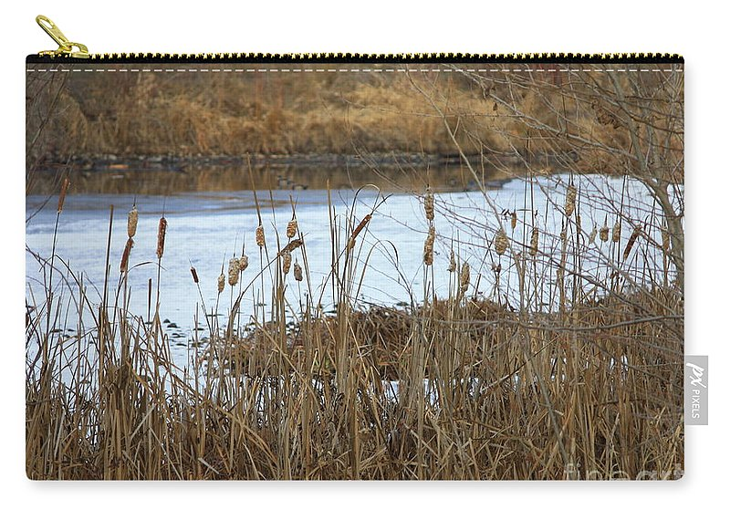 Winter Pond Carry-all Pouch featuring the photograph Winter Cattails by Carol Groenen