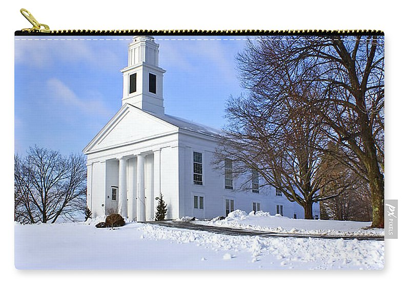 Beautiful Carry-all Pouch featuring the photograph Winter Church by Evelina Kremsdorf